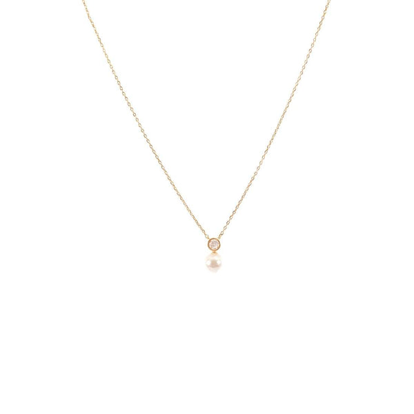 Gold Bezel CZ Pearl Drop Necklace - Crowned Boutique