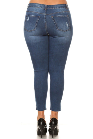 Plus Size Distressed Mid Rise Skinny Jeans