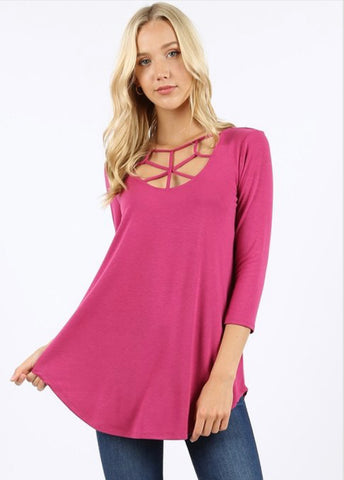 Magenta Cage Top 3/4 length sleeve - Crowned Boutique