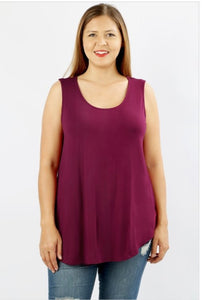 Wine Sleeveless Shift Tank - Crowned Boutique