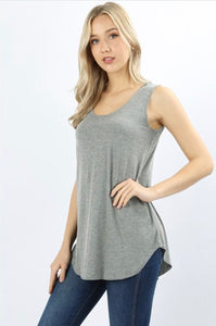 Heather Gray Sleeveless Shift Tank - Crowned Boutique