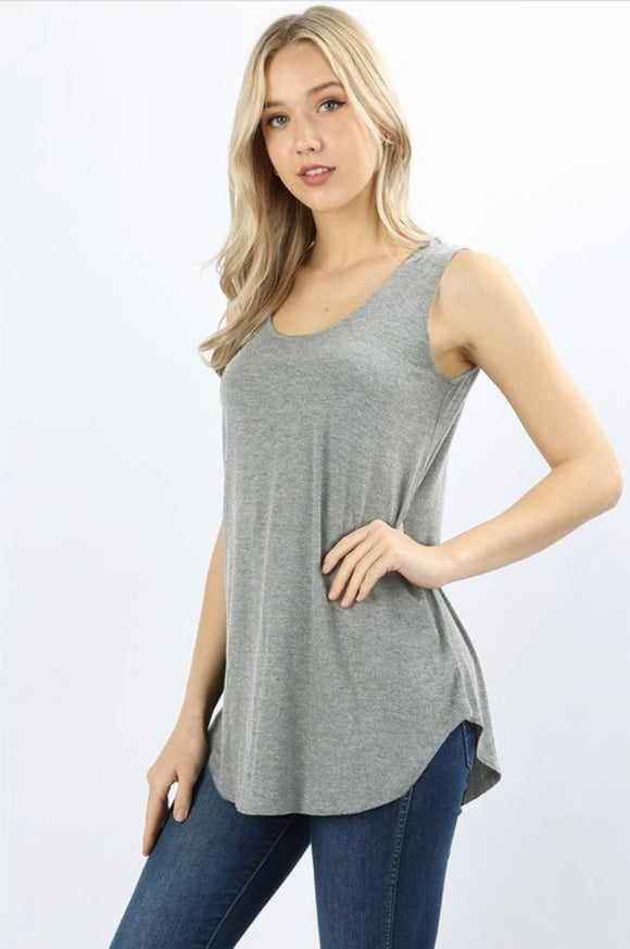 Heather Gray Sleeveless Shift Tank