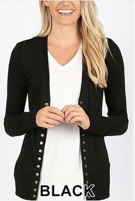 Oh Snap! Cardigan Black - Crowned Boutique