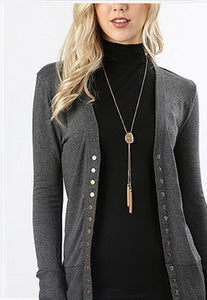 Oh Snap! Cardigan Charcoal - Crowned Boutique
