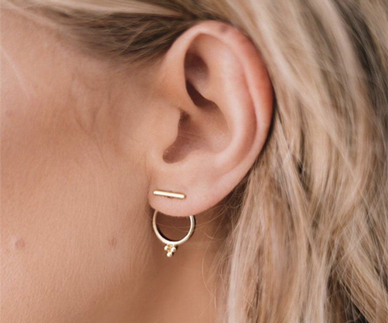Gold Bar and Circle Convertible Earrings