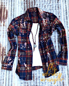 Indian Summer Distressed Flannel - Crowned Boutique