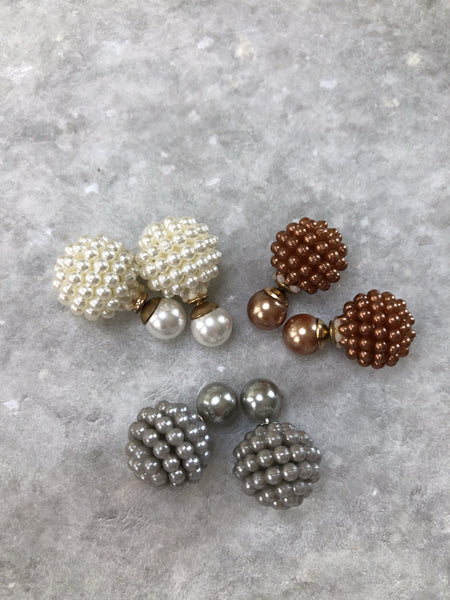 Mini Pearl Double Studs: Pearl, Mocha and Grey