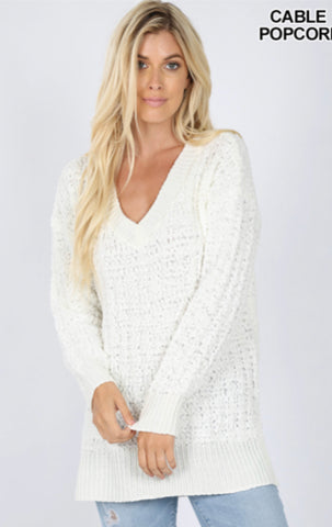 Ivory Cable Popcorn Sweater - Crowned Boutique