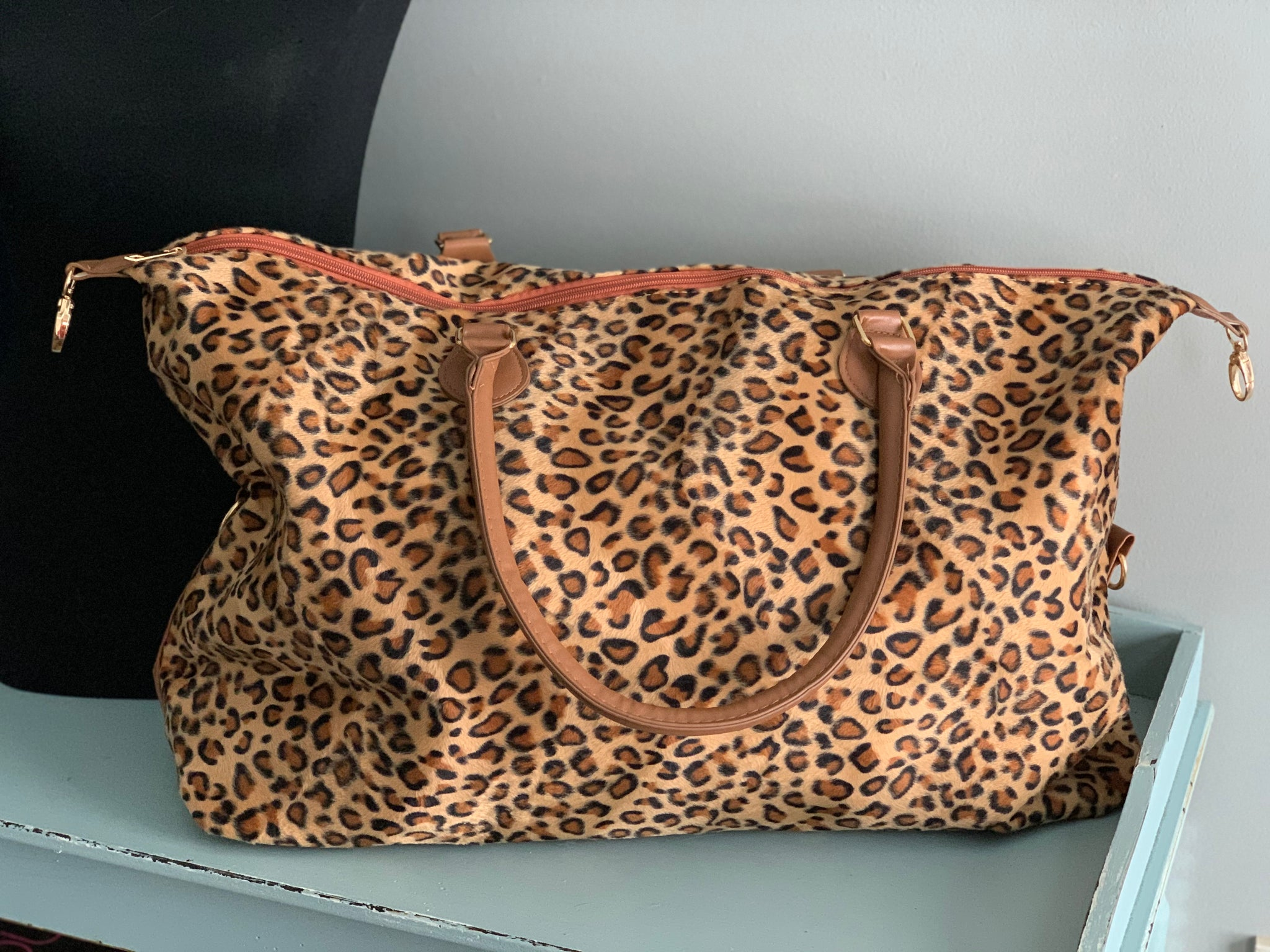 Leopard Print Overnight Weekender - Crowned Boutique
