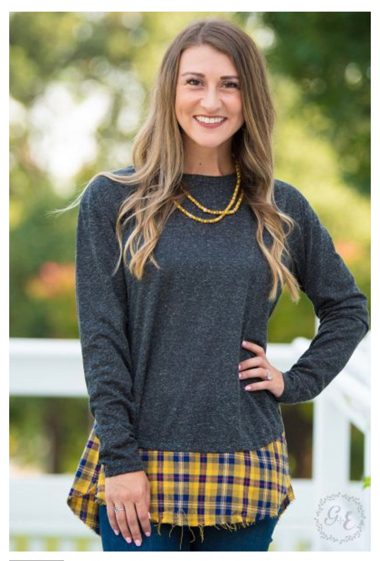 Raw Edge Mustard and Charcoal Plaid - Crowned Boutique