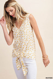 Mustard Tie Top - Crowned Boutique