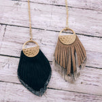 Leather and Metallic Drop Necklace