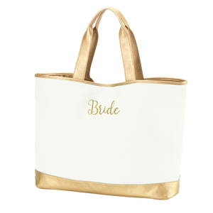 Creme Cabana Tote Embroidered BRIDE in Gold Thread