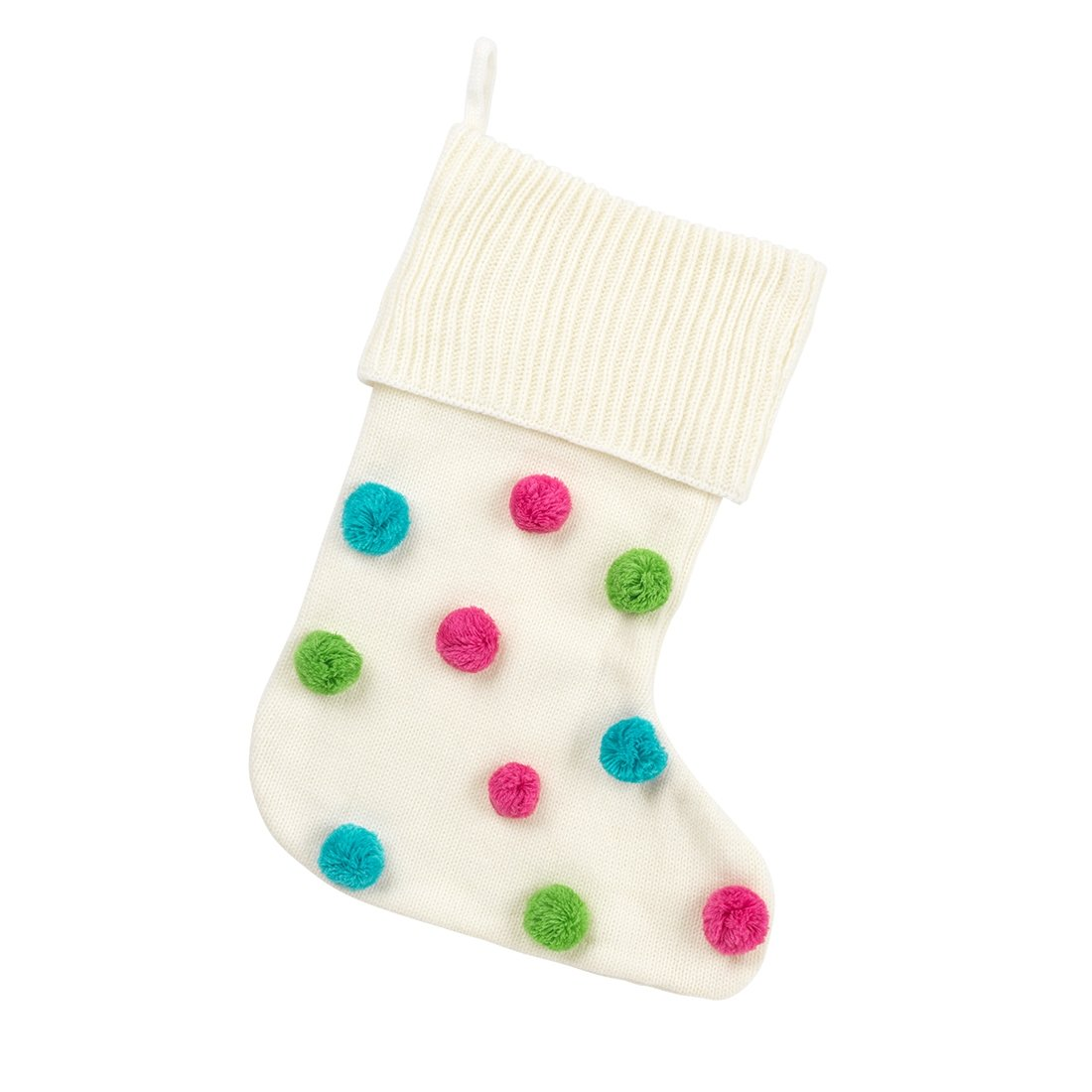 Multi-Color Pom-Pom Stocking