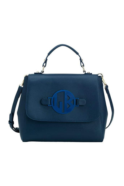 Navy Reese Monogram Satchel - Crowned Boutique