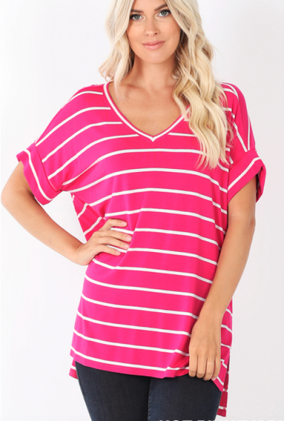 Tickled Pink Striped Tee - Crowned Boutique