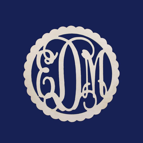 Scallop Wood Monogram