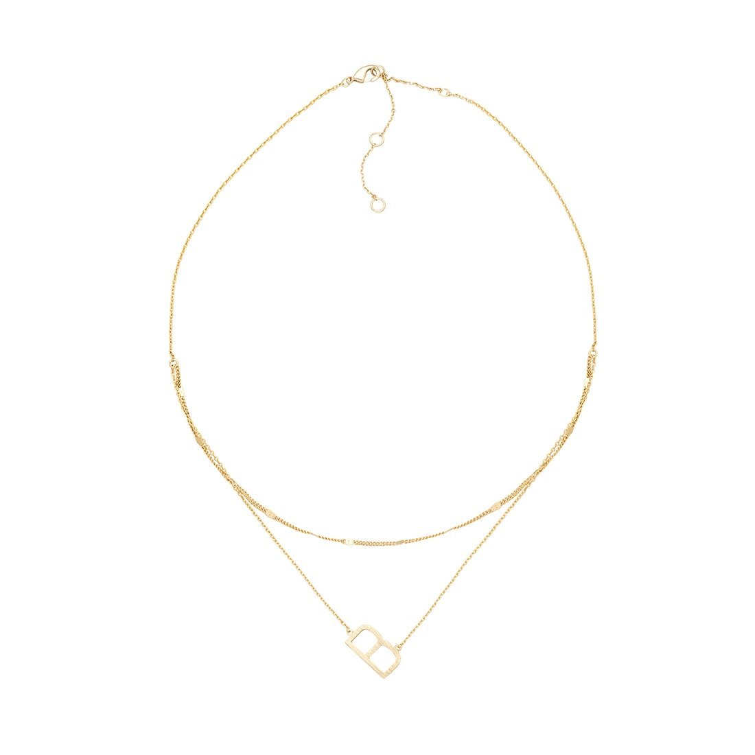 B Gold Double Chain Necklace