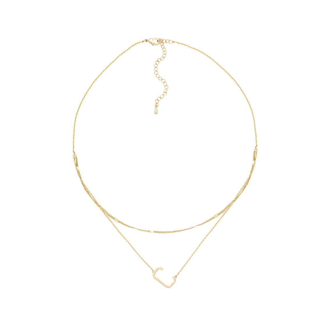 C Gold Double Chain Necklace