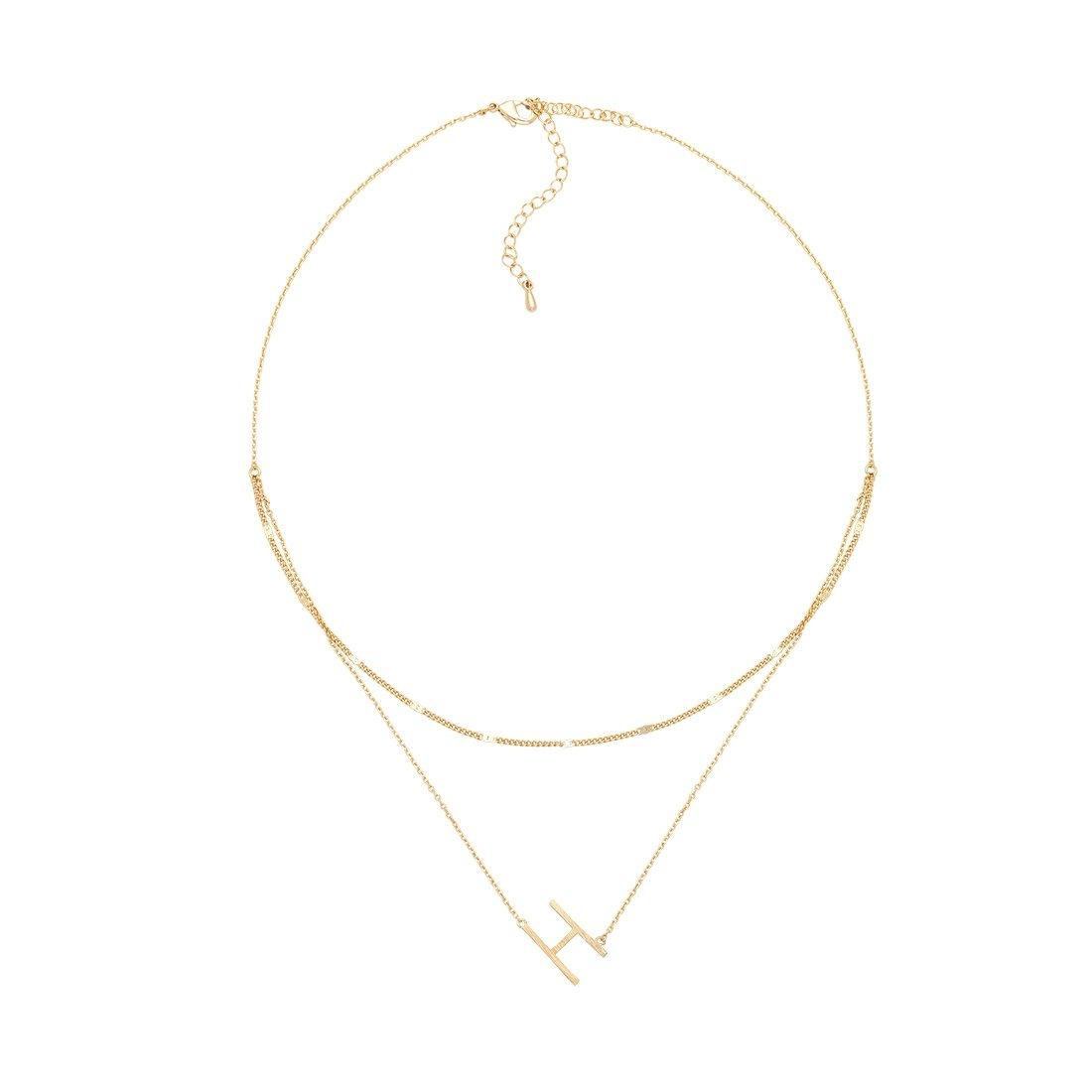 H Gold Double Chain Necklace
