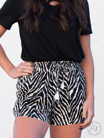 Running Free Zebra Print Shorts - Crowned Boutique