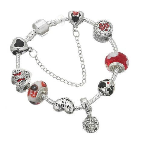 Image of Silver Gold Crystal Color Charm Pandora Bracelet - fashionniste