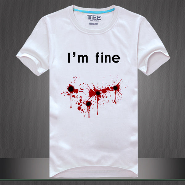 Men Women's tee shirt print I'm fine blooded funny t shirts - fashionniste