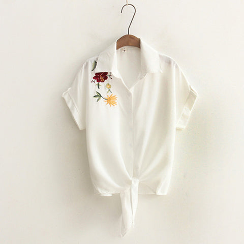 Image of Short Sleeve White Blouses Shirts - fashionniste