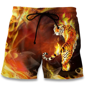 Summer Men's Flame Tiger Shorts
