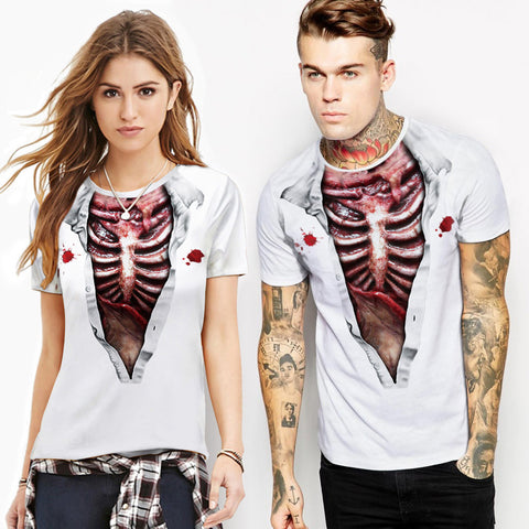 Image of funny Unisex print Bloody ribs muscle T-shirts
