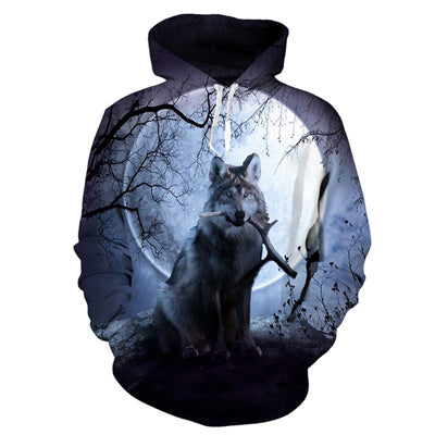 Image of USA Flag Wolf Hooded Sweatshirts
