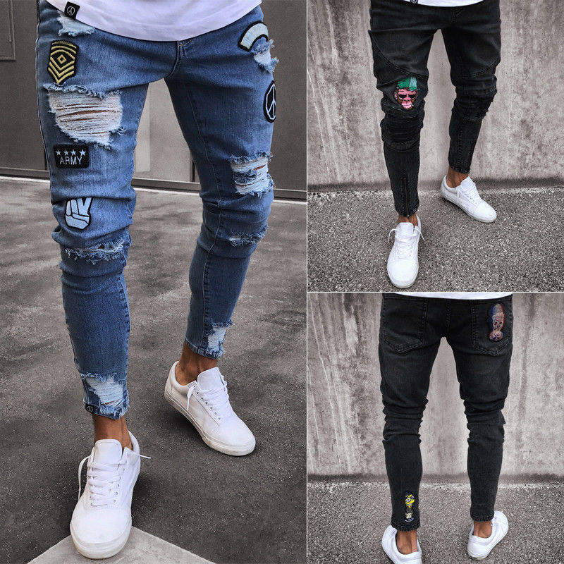 Men's Stretchy Ripped Jeans - fashionniste