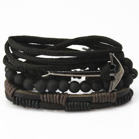 Image of New Fashion Bead Leather Bracelets & bangles for Women 3/4 pcs - fashionniste