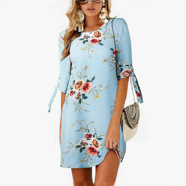 2019 Women Summer Dress Boho Style Floral Print Chiffon Beach Dress Tunic Sundress Loose Mini Party Dress Plus Size 5XL - fashionniste