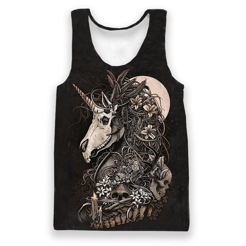 Skull Horse Print All Over Tank Top - fashionniste