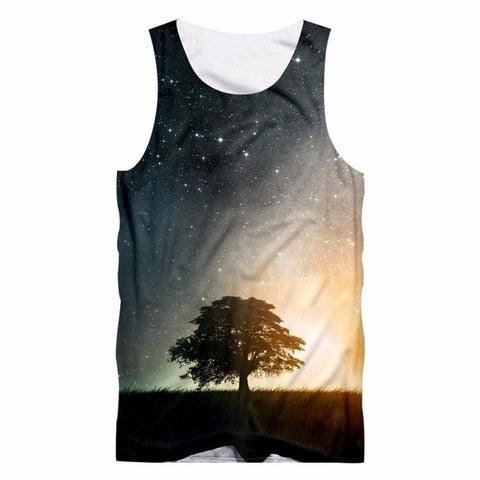 Nightfall Tree print Tank Top - fashionniste