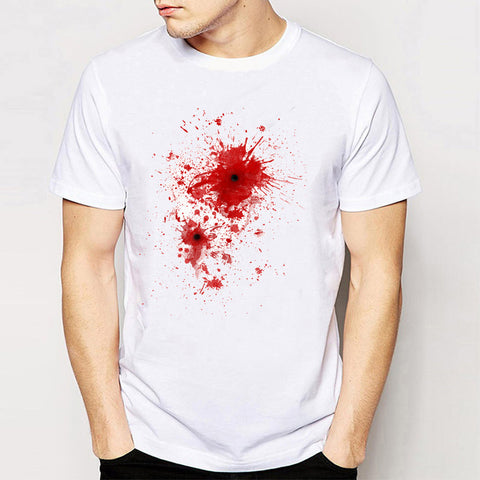 Men's Blood spatter bullet wound Costume T-Shirt