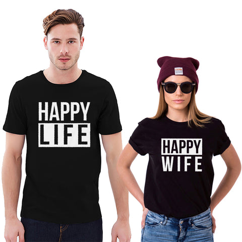 Happy Wife Happy Life Funny Couple Matching T-shirts - fashionniste