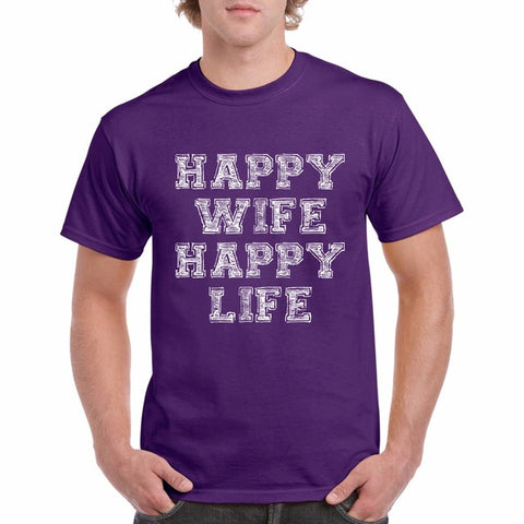 Happy Wife Happy Life Funny T Shirts - fashionniste