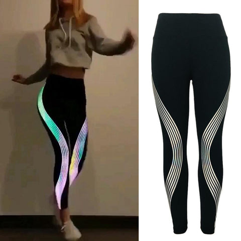 Rainbow Reflective Stripes Fashion Leggings - fashionniste
