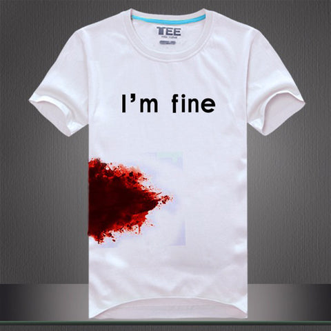 Image of Men Women's tee shirt print I'm fine blooded funny t shirts - fashionniste