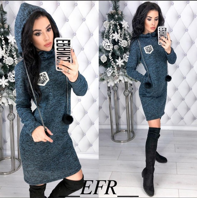 Hooded Dresses Long Sleeve Straight Pockets - fashionniste