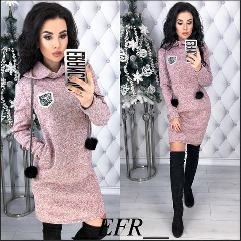 Image of Hooded Dresses Long Sleeve Straight Pockets