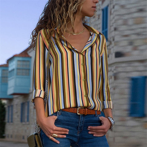 Image of Women Chiffon Blouse Long Sleeve Women's shirts - fashionniste