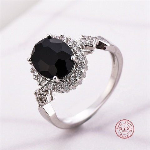 Genuine Jewelry 925 Sterling Silver Stackable Ring Round Black CZ Crystal Finger Rings for Women Wedding Party - fashionniste