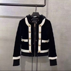Velvet Crop Button Embellished Jacket