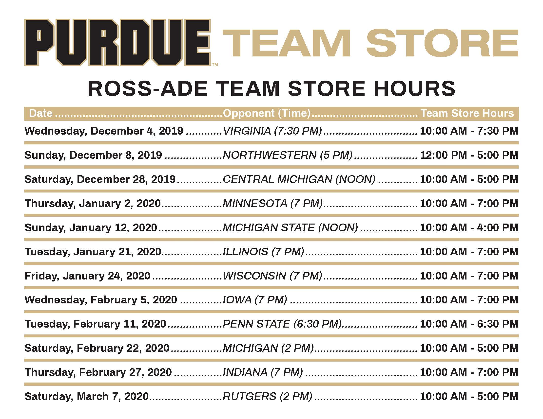 Ross-Ade Team Store Hours for Basketball Games