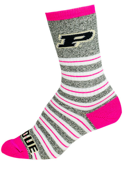 Ladies Purdue Pink Striped Crew Socks, Click to See Larger Image