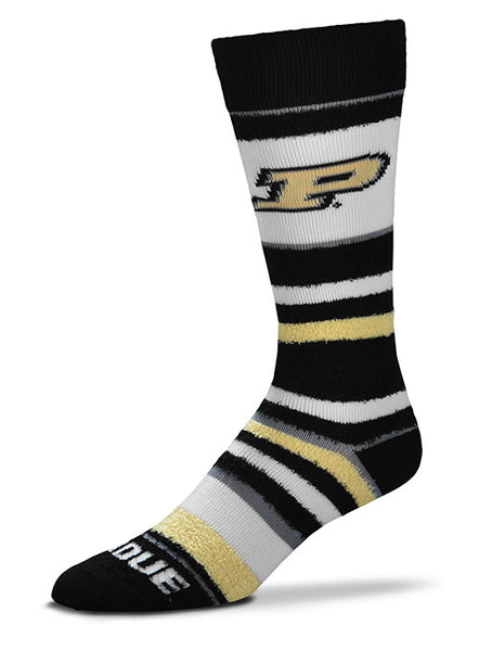 Ladies Purdue Soft Stripe Crew Socks, Click to See Larger Image