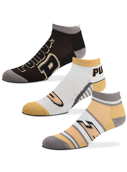 Ladies Purdue 3-Pack Ankle Socks, Click to See Larger Image